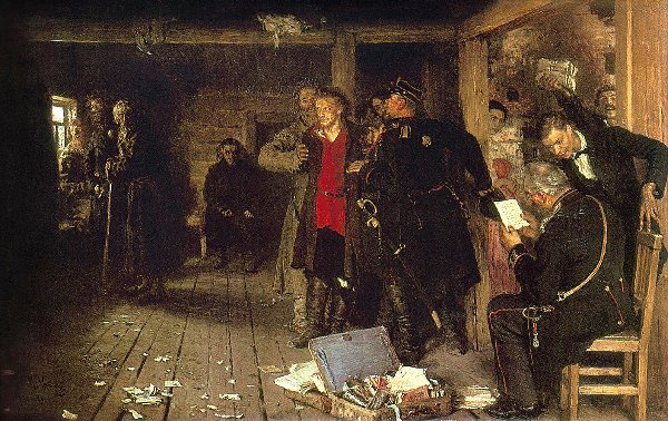 И.Репин Арест пропагандиста - окончательный вариант картины.